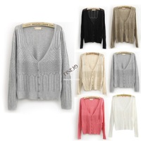 New Casual Women Knit Loose Hollow out Long Sleeve Cardigan Ultra-thin Sweater Candy Color 16261
