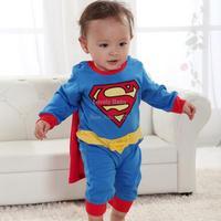 Baby Boy Romper Superman Long Sleeve with Smock Infant Cartoon Children Kids Drop Shipping SV000172 b014