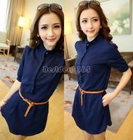 Nice Women Summer Chiffon Shirt Dress Buttons Loose Clothing Casual Dress Party Evening Dress Plus Size With Belt B16 SV004457
