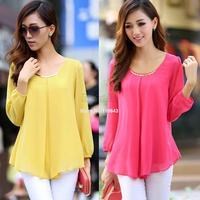 FREE SHIPPING Women chiffon blouses long-sleeve collar Shirts 2014 fashion woman blouses woman clothing SV18 SV007460