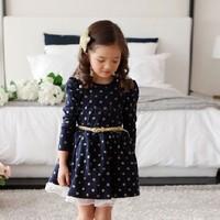 2014 Top Autumn Winter Kids Toddler Girls Princess Dress Long Sleeve Polka Dots Buttons Dress Ages With Belt 3-11Y B21 SV010782