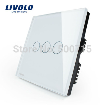 Wholesaler Livolo Ivory White Crystal Glass Panel,UK standad,Digital Touch Light Switch/Wall Light Touch Switch VL-C303-61