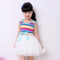 [retail] Free shipping 2013 girls princess tutu dress rainbow striped dress kids clothing,356
