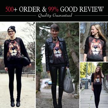 2013 Women Fashion Sportswear Fall/Winter European Style Black 3D Lion Head Loose ...
