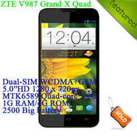 "Original ZTE V987 Grand X Multi-language MTK6589 Quad-core 1.2G Android 4.2 5.0""HD 1GB RAM+4GB ROM 2500mAH Free Gift Shipping"
