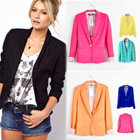 Free Shipping 2014 Women's Fashion Basic Jacket Tunic Foldable sleeve Coat Candy Colors Cardigan One Button Blazer XS-XL 9794