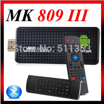 MK908 RK3188 Quad Core Google TV Stick Smart Android TV Box 2GB RAM Built-in Bluetooth IPTV Mini PC OS 4.2.2 + RC12 keyboard
