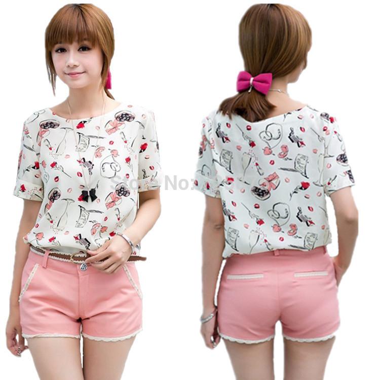 New fashion Top Blouse Sheer Short Sleeve Loose Women Ladies Chiffon T-Shirt Top Dimensions Free shipping(China (Mainland))