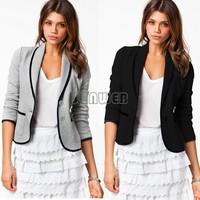 Hot Sale 2014 New Fashion Blazer Women Spring/Autumn Slim Design two button Short Gray Blazer Jackets Coat b4 SV003839