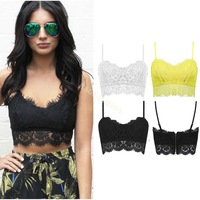 New Arrival Sexy Women Floral Lace Bustier Top Strap Bodycon Crop Top Party Corset Bra Cami Tank Black White Yellow B20 CB029945