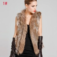 Women Genuine Knitting Rabbit Fur Vest With Raccoon Fur Trimming Tassels Female Natural Slim Waistcoat  Free Shipping QDMJ001
