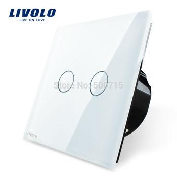 Free Shipping, White Crystal Glass Switch Panel, EU Standard,   VL-C702-11,Livolo AC 110~250V Wall Light Touch Screen Switch