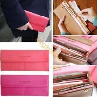 women's PU envelope clutch bag long leather Wallet Ladies designer Purse Checkbook Handbag drop shipping 5226