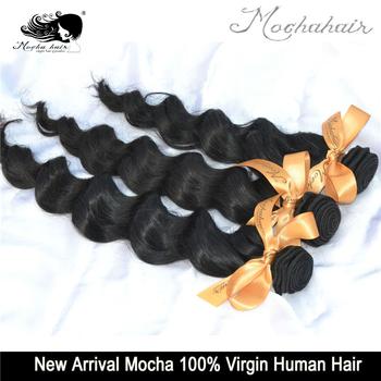 Mocha Hair 3 Or Mix 3 pcs Lot  7A Grade Loose Wave Brazilian Virgin Hair Extensions Wholesale Natural Color Tangle Free