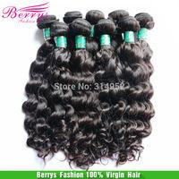 "BrazilianVirgin Hair Natural Wavy,3pcs 10""-28"" Berrys Hair Products Super Soft No Tangle And Shedding Top Quality Huamn Hair"