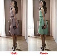 Promotions!! Woman Fashion Summer Chiffon Dress Elegant Sleeveless Dress Free Shipping B16 10259