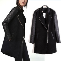 Free Shipping 2013 Women Winter Long Sleeve Leather Patchwork Wool & Blends Zippper Basic Jacket Coat 9784