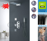 Thermostatic Rainfall Bathroom Faucet Set Dual Rainfall And Waterfall Shower Head And Massage Body Spray Jets