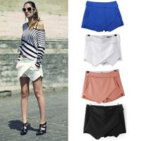 2015 Hot 4 Colors Womens Tiered Irregular Zipper Culottes Short Shorts Skirt Trousers XS S M L XL Blue Black White Orange