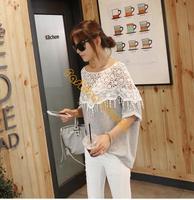 New Sweet Lace Cutout Shirt Women Handmade Crochet Cape Collar Batwing Sleeve Blouse T-shirt B26 19221