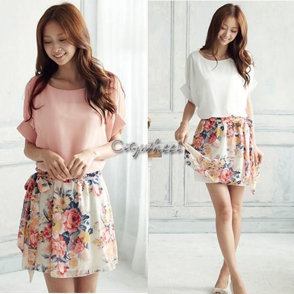High Quality! 2014 New Women's Summer Chiffon Dress Patchwork Crewneck Short Sleeve Floral Casual Dress 14510 b004(China (Mainland))