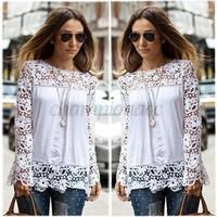 Promotion Women Casual Blouse chiffon Shirt Plus Size lace tops Clothing O-Neck Ladies Autumn Loose Long Sleeve White B16