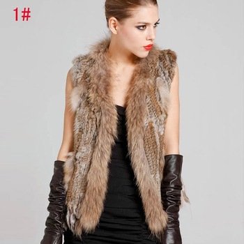 Ladies Genuine Knitted Rabbit Fur Vest Raccoon Fur Trimming Tassels Women Fur Natural Waistcoat Lady Gilet colete pele QDMJ001