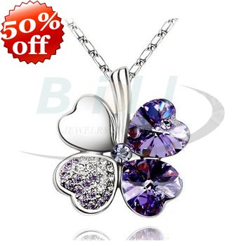 50%OFF Four Leaf  Crystal Clover Necklace Fashion Four Leaf Leaves Shape Pendant Necklace Wedding Jewelry 10 colors