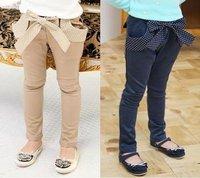 [retail] 2014 spring autumn girls' trousers children bowknot fashion pants,1131