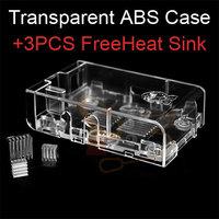 Clearance Sale! Original Price $9.99! Raspberry Pi Case ABS Plastic Transparent add 3pcs Heat Sink Set Kit as Free Gift