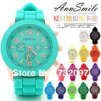 New Fashion Designer Sports Geneva Watch brand silicone watch jelly watch 15 colors quartz watch for women men Free Shipping