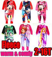 2014 winter children soft romper Long sleeves bodysuits Soft jumpsuits Children Blanket Sleepers micro fleece warm pajamas KR016