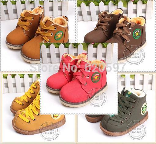 Boy kids shoes brands Winter Boy Girls Warm Winter Flat Snow Boots red yellow Brown 2015 fashion girl kids shoes 003(China (Mainland))
