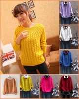 Sweaters 2013 Women Fashion Autumn New In Stock British vintage Style Women Pullover Sweater  Braided Pattern