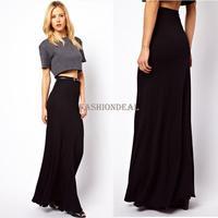 2013 New autumn -summer Women's Black Inclined Seam Splicing High Waist Fitted Maxi Long Skirt Drop Shipping 19048