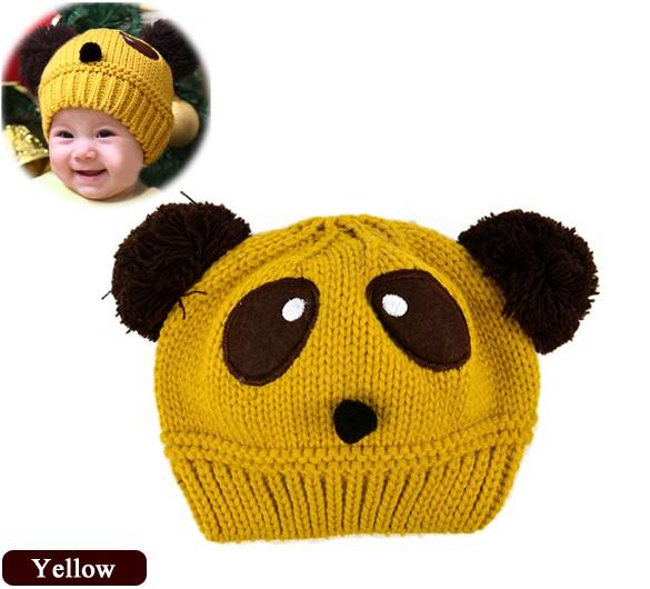 2014 New lovely animal panda baby hats and caps kids boy girl crochet beanie hats winter cap for children to keep warm b14 8189(China (Mainland))