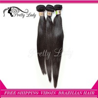 Pretty Lady hair 3pcs/lot unprocessed Remy Brazilian Virgin hair extension straight hair weaves natural color  DHL free shipping