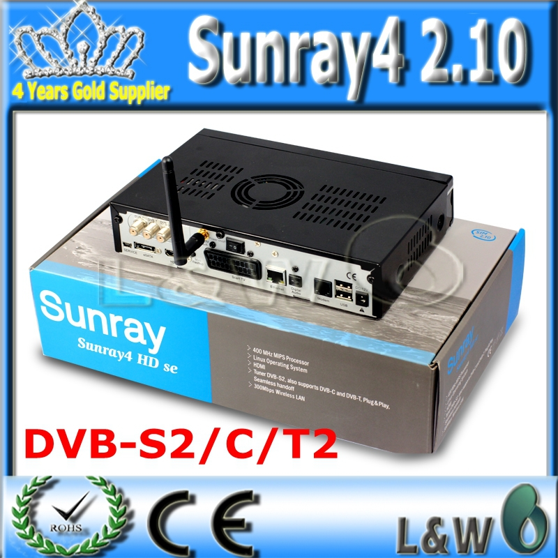 Digital Satellite Receiver Sunray4 2.10 sr4 2.10 Rev D6 Sunray HD SE SR4 800SE Triple tuner Enigma2 DVB S(S2)/C/T 300Mbps WIFI(China (Mainland))