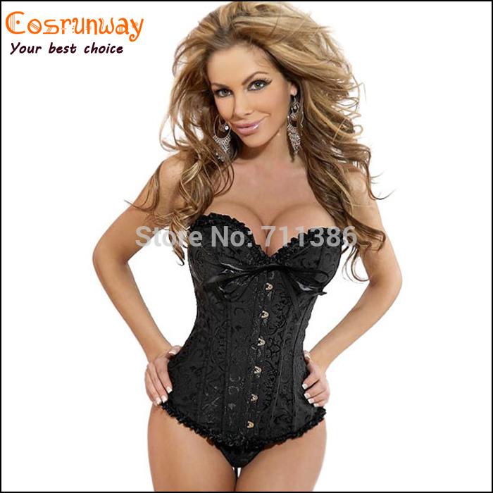 Hot Plus Size Black Sleepwear Sexy Women Lace Tops Steel Bustier Lingerie Overbust Corset Dresses (S,M,L,XL,2XL,3XL,4XL,5XL,6XL)(China (Mainland))