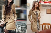 2014 New spring Cotton women coat Slim Double-breasted Trench Coat Casual Long Outwear M,L,XL Free Shipping 3375