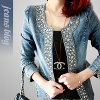 2013 new slim Denim Jackets Patchwork Outwear Jeans Coat Classical Jackets Women Fashion Jeans coats rivets the female jackets