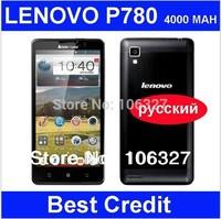 in stock Lenovo P780 phone MTK6589 quad core 1.2GHz 4000mAh 1GB/4GB 1280X720 Camera 8.0MP 3G Smart phone Android4.1 Russian /Eva
