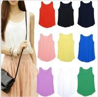 3 size Women fashion Chiffon tank Tops Vest Shirts solid candy 12 color camis chiffon loose top Shirt