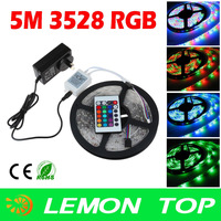 3528 5m RGB LED strip Light  Waterproof Lighting Led Strip 300leds 60leds/m  +24keys Control +12V 2A Power Supply  free shipping
