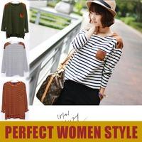 Tops 2013 New Fashion Women's Clothing Joker Spell Shoulder Pocket Stripe Blouse Women Long Sleeve T shirt Plus Big Size LF3681