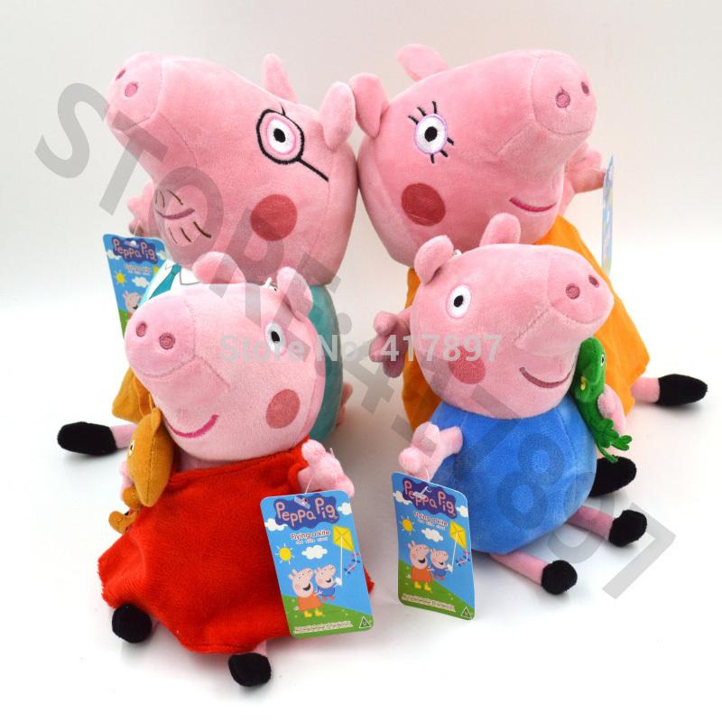 TOP SALE Anime Baby Toys 4PCS/SET Pepa Pig Peppa Pig Family Stuffed Plush Doll Peppa Pig Toys Teddy Bear George Pig Dinasour(China (Mainland))
