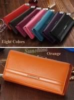 High Quality 2014 New Hot Sale Purse Women Solid Button Leather Hand Bag Long Clutch Wallet b4 SV003625