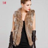 Ladies Genuine Knitted Rabbit Fur Vest Raccoon Fur Trimming Tassels Women Fur Natural Waistcoat Lady Gilet Fur Coat  QDMJ001