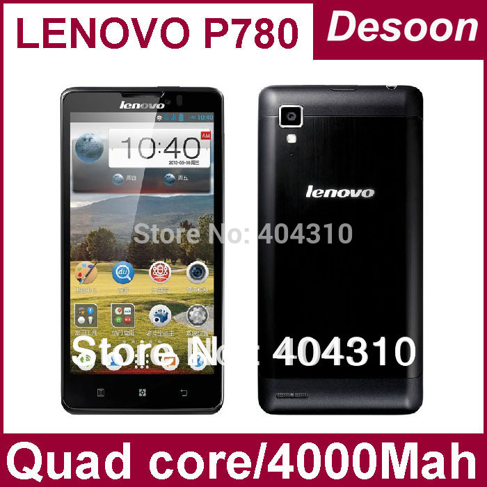 Free Shipping Original Lenovo P780 Phone Quad Core mobilephone MTK6589 1.2GHZ 1GB Ram+4GB Rom 4000mah battery in