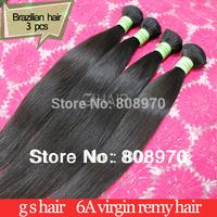 3pcs Brazilian Virgin Hair Extension natural human hair weaves straight Mixed lengths gs hair better quality hair products